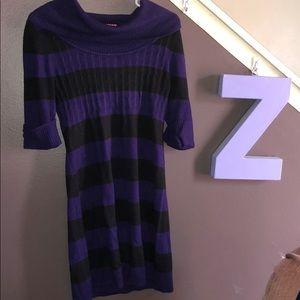Purple and black large light sweater dress